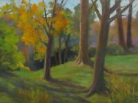 Original Art 18x24 Painting Bay City Park Cleveland Ohio Autumn Fall Plein Air