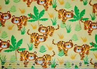 By the 1/2 yard 100% cotton quilt fabric Sun Tigers jungle mascot cats animals