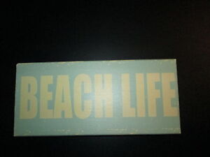 """Beach Life"" Wooden Plaque, 5"" x 11' x 2"", NEW"