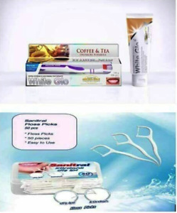 White Glo  Coffee & Tea Drinkers Toothpaste with Sanitral Floss 50 pcs