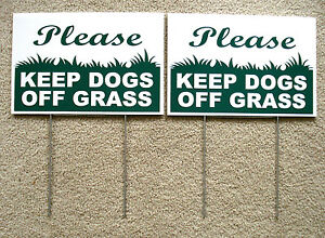 """2 PLEASE KEEP DOGS OFF GRASS  8""""X12"""" Plastic Coroplast Signs with Stake  NEW"""
