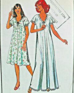 "32""- 34"" Vintage 1970s Night Dress Gown Nightie Simple Sewing Pattern Style 2363"
