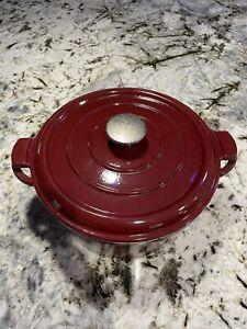 Vintage Le Creuset? Red Enamel Cast Iron Dutch Oven Made In France Pot 5 QT