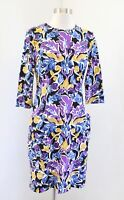 J McLaughlin Bold Floral Print Nylon Shift Dress Pockets Size S Purple Yellow