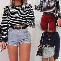 Women Hoodie Crop Top Long Sleeve Sweatshirt Cropped Jumper Sweater Pullover Top
