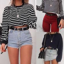 Women Hoodie Crop Top Long Sleeve Sweatshirt Cropped Jumper Sweater PulloverRSDE