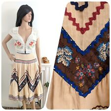 Vintage 70s 80s Lucie Linden Cheesecloth Cotton Gypsy Prairie Skirt Boho 10 38