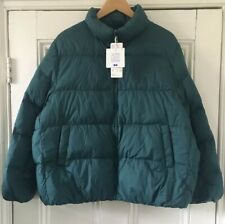 Uniqlo Ultra Light Women's Teal Down Volume Puffer Jacket XL UK 16 EU 44 NEW