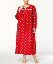 468e047811 Charter Club 2x Candy Red Polka Dot Cotton Flannel Warm Nightgown Long  Length