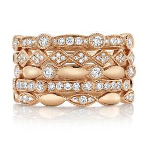 14K Rose Gold Diamond Stackable Ring 5 Piece Set Band Womens Mix Match Round Cut