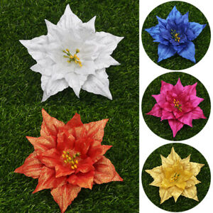 10X Christmas Large 13cm Hollow Glitter Flower Tree Hanging Party Xmas Decor