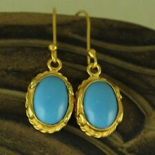 Handmade Designer Turquoise Earrings 24K Gold Over 925K Sterling Silver Jewelry