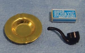 1/12th Scale Dolls House Pipe, Ashtray & Matches.