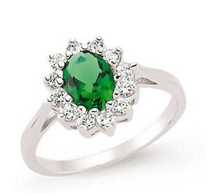 Emerald Ring Emerald Cluster Engagement Ring Platinum Plated Sterling Silver