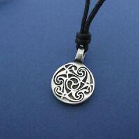 Irish Pewter Celtic Triple Spiral Pendant with Adjustable Black Cord