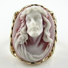 Crown Of Thorns Jesus Cameo Ring 14K Rolled Gold Jewelry Red Resin Any Size