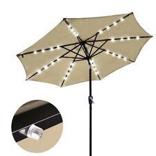 Solar LED Patio Umbrella 2.7m Tilt Outdoor Garden Market Beach Parasol Beige