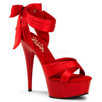 Pleaser DELIGHT-668 Platforms Exotic Dancing Red Satin Red Ankle Strap High Heel