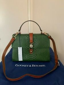 NWT DOONEY & BOURKE CLAIRE CALDWELL PYTHON EMBOSSED LEATHER SATCHEL TURTLE $348+