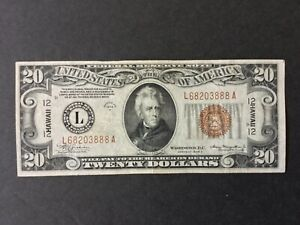 1934A US $20 DOLLARS FEDERAL RESERVE NOTE HAWAII.