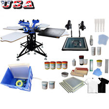 3 Color 4 Station Screen Printing Materials Kit Press Shirt Pritner Ink Squeegee