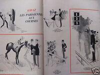 DESSIN DE PRESSE HUMORISTIQUE 1967 KIRAZ LES PARISIENNES AUX COURSES