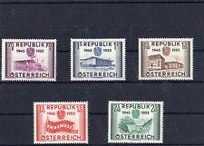 Ö 1955 Wiederherstellung der Unabhängigkeit Postfrisch ** MNH ANK 1021 - 1025