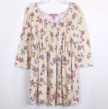 Woman Within Size 1X 22 / 24 Babydoll Tunic Top 3/4 Sleeve Orange Sorbet Floral