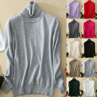 Women's Slim Knitted Turtleneck Cashmere Jumper Pullover Sweater Plus Size