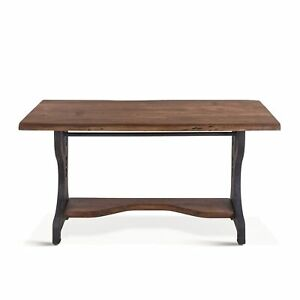 "54"" L Desk Solid Acacia Wood with Rustic Industrial Reclaimed Iron on Wheels"