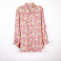 J. Jill Pink Floral Print Long Sleeve Button Down Shirt Linen Women's Size 1X