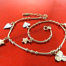 ANKLET GENUINE 18K YELLOW G/F GOLD BEAD LINK HEART STAR 3 LEAF CLOVER DESIGN