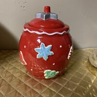 "Hallmark Christmas Holiday Red Cookie Jar 8"" Snowflakes Candy Cane Snowman Star"