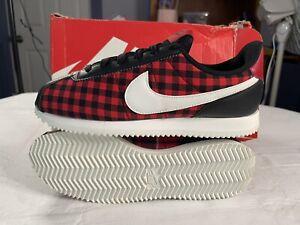 Nike Cortez Basic TXT SE GS Plaid SIze 7Y Black/Summit White/Gym Red AA3498-003