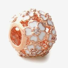 WHITE PRIMROSES OPENWORK ROSE GOLD Plated European Charm Bead