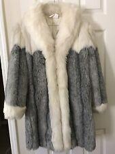 Women's Full & Fluffy Bulky Fox Fur Coat Gray & Ivory Colors Size 10