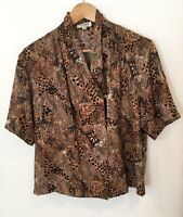Ladies Windsmoor Planet Size 14 Shirt Brown Patterned <SW3339