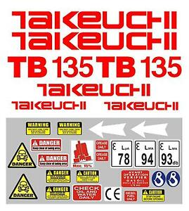 Decal Sticker set for: Takeuchi TB135  Mini Digger Pelle Bagger Excavator