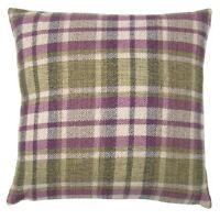 "Green / Purple / Cream Scottish Tartan Checked Woven 17"" Cushion Covers"