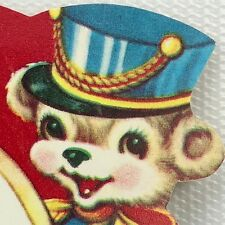 Vtg Band Bear Drummer Valentines Card 1940s 50s Ephemera Holiday Greeting Sweet
