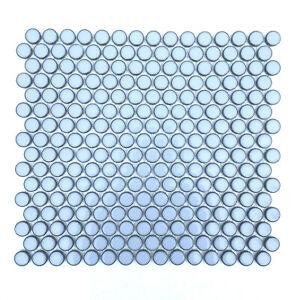3/4 x 3/4 Penny Round Raku Style Cielo Blue Porcelain Mosaic Wall and Floor