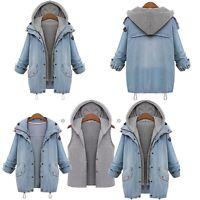 Women Winter Warm Collar Hooded Long Jacket Denim Trench Parka Outwear Coat