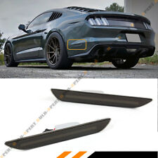 FOR 2015-18 MUSTANG SMOKE LENS REAR BUMPER SIDE MARKER REFLECTOR LED LAMPS LIGHT