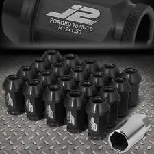 J2 ENGINEERING 7075 ALUMINUM M12X1.5 20PCS 40MM OPEN-END LUG NUTS+ADAPTER BLACK