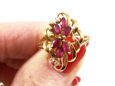 Right Hand Ring, Size 6 3/4 Retro 14K Yellow Gold 'Ruby & Diamond'