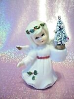 *SUPER RARE* VTG 1 Napco Lefton Christmas Holly Angel Girl Holds Tree & Candle