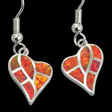 Heart Shape Ruby Red Fire Opal Inlay Silver Jewelry Dangle Earrings