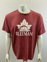 Sleeman Canadian Lager Tee Men's XL Red Crew Neck Spell Out Beaver Logo T Shirt
