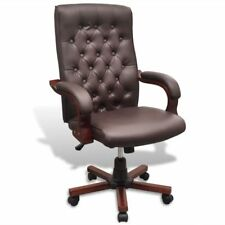 # vidaXL Brown Executive Office Arm Chair Chesterfield PVC PU Leather Swivel