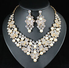 Butterfly Faux Pearl Austrian Rhinestones Bib Necklace Earrings Set Bridal N944g